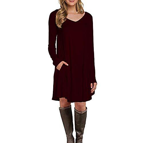 ESAILQ Damen Langarm-Tasche Beiläufige Lose T-Shirt-Kleid(XL,Rot)