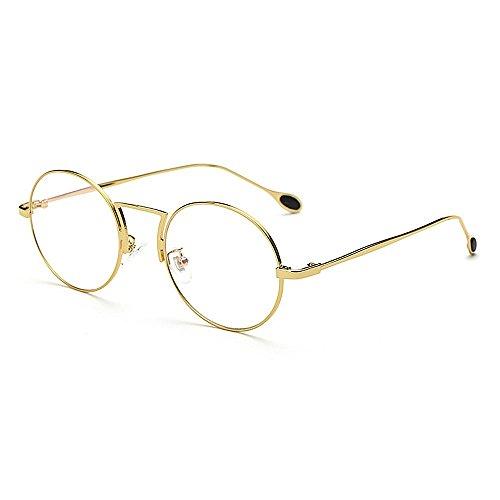 Yiph-Sunglass Sonnenbrillen Mode Damensonnenbrille Runder Stil Unisex-Sonnenbrille Anti Blue Ray Computer Einfacher Metallrahmen TAC Objektiv Sonnenbrille UV-Schutz umrandet Fahren (Farbe : Gold)