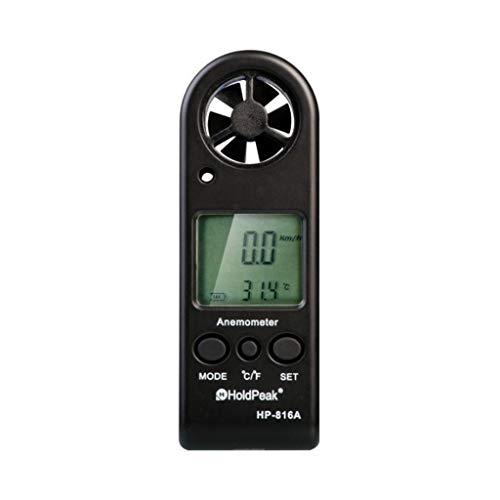Zcyg Anemometer Wind Speed Meter Digital Windmeter Luftgeschwindigkeit Temperaturmessgerät, for RC Drohnen Hubschrauber Windsurfen Kite Flying Etc
