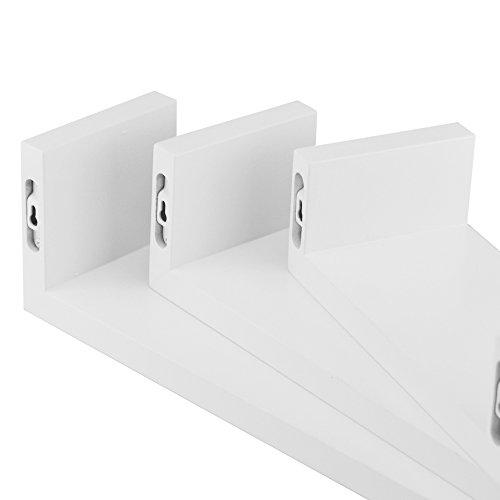 TANBURO Mensole da Muro Set Da 3 Mensole da Parete Scaffale Libreria/CD/DVD/libro/mensole 3 Pezzi Diametro Diverso-Bianco - 8