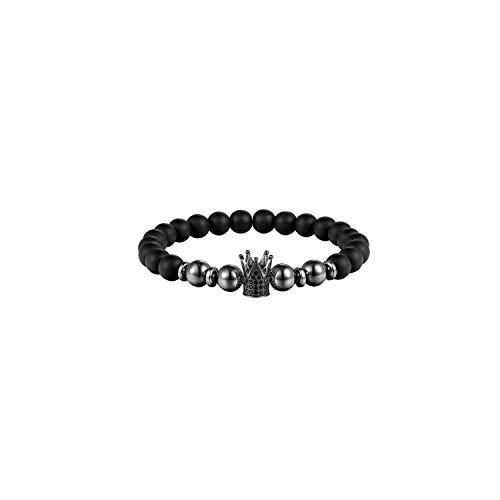 Awertaweyt Edelstein Perlen Armband 8Mm Ball Disco Charm Women Bracelet 8Mm Matt Stone Bead Bracelet Men's Jewelry Natural Pearl BraceletABCDEFFor Men AS308 19cm -