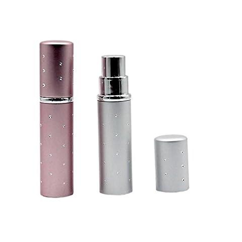 Schönes Leben* 2er Set Reise Parfüm-Zerstäuber Flakon Parfümflasche Sprühflasche Leer Reiseflasche Silber und Lila