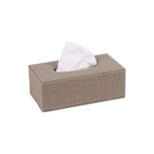 TWDYC Leinengewebe Box- Tissue Box Cover-Gewebe-Halter Rechteck Dekorative Grau Badezimmer-Dekor Zubehör for das Badezimmer Leinenblick Pappmaché (Color : Khaki)