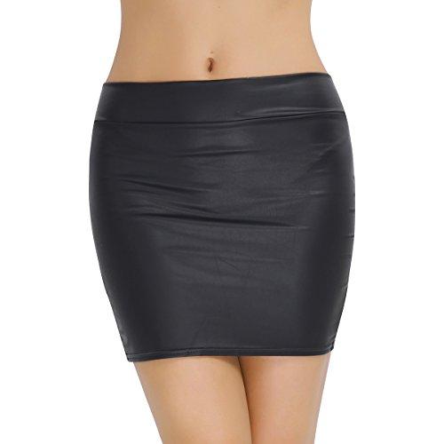 iiniim Falda de Lápiz Corta de Cuero Cintura Alta Sexy Mujer Bodycon Cadera Atractivo Falda Tubo de Piel Sintética Elástica Básica Erotico Negro Club Talla Grande S-XXXL Negro L