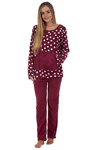 Damen Schlafanzug mit Print - Fleece - warm - ideal für den Winter - Rot - S - EU 34/36 -