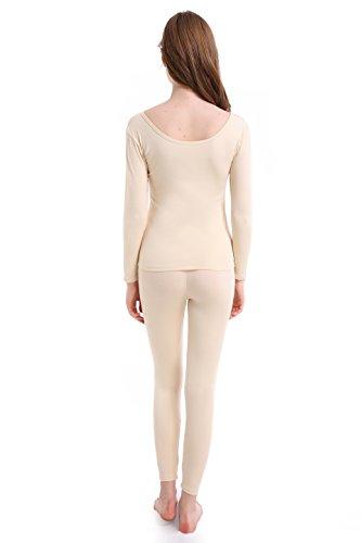 Damen Thermounterwäsche Set Stretch dünnes U-Außchnitt weich und atmungsaktiv Aprikose