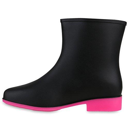 Damen Gummistiefel Stiefeletten Neon Regenschuhe Boots Wasserdicht Schwarz Neonpink
