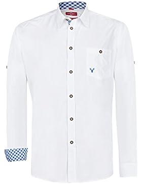 Trachtenhemd Hubert weiß mit 10 versch. Kontrastfarben (Gr. XS-XL) mit Krempelärmel Slim Fit