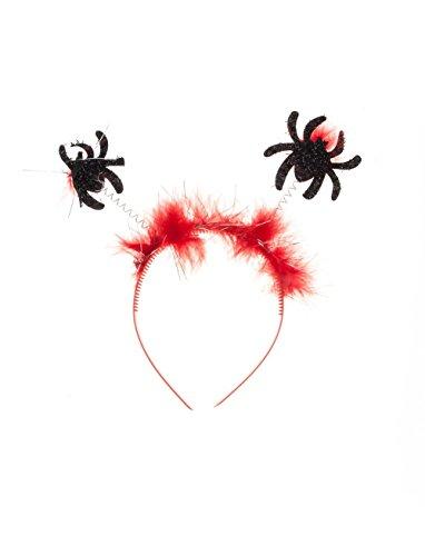 Haarreif * HALLOWEEN * mit glitzernden Spinnen und roten Kunst-Federn // tolle Verkleidung für eine gruselige Motto-Party // Kostüm Accessoire Tiara (Glitzernden Kostüm)