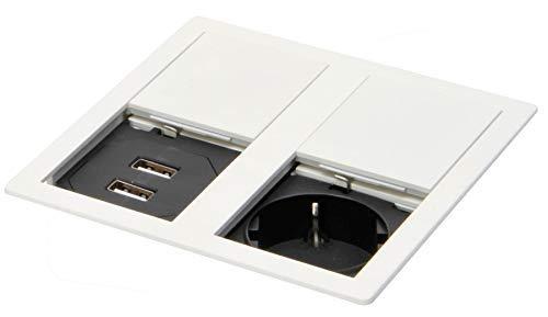 Cocina Enchufe Empotrable Encimera 2x USB Oficina Max 3400W Tapa Blanco Mate...