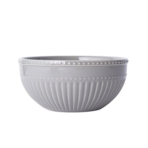 Mikasa Italian Countryside Accents Soup/Cereal Bowl, Fluted Grey Fluted Bowl
