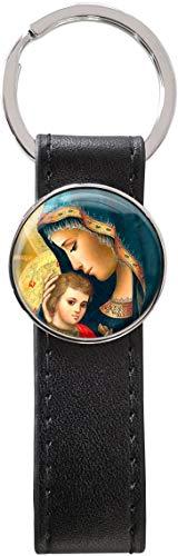 metALUm Llavero métalico cuero PU / Virgen María con el Niño / 36100103
