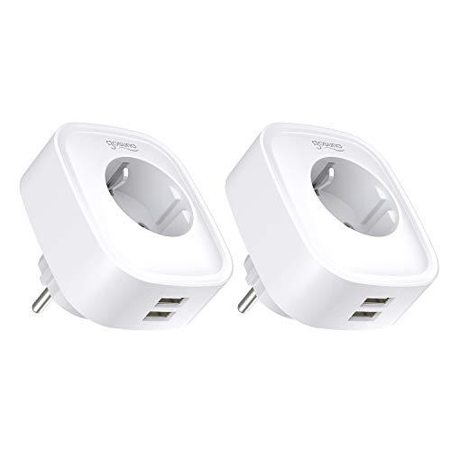 Gosund Smart Steckdose mit 2 USB-Anschlüssen WLAN Steckdosen überspannungsschutz Stromverbrauch messen Timer Funktion Fernsteurung ohne Hub benötig, 16A-3680W (2er Pack) -