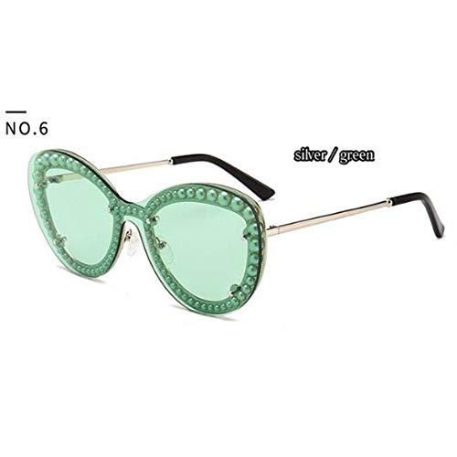QDE Sonnenbrillen Eingebettete Perle Clip Art Sonnenbrille Frauen Brille Uv400Mode Weibliche Shades, C.