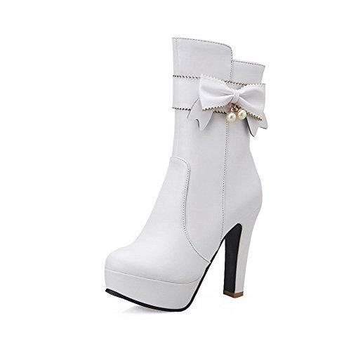 AllhqFashion Damen Gemischte Farbe PU Leder Hoher Absatz Rund Zehe Stiefel mit Metallisch, Weiß, 34