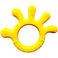 Chic Buddy Finger Shape teethers for Babies BPA Free Silicone Soft Baby Toys (3 6 9 12 Months Old,Yellow)