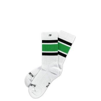 Del Mar Lo   Halbhohe Retro Socken mit Streifen von Spirit of 76   Weiß, Schwarz & Grün gestreift   stylische Unisex Kniestrümpfe Größe S (35-38)