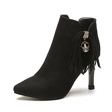 Rtry Femmes Chaussures En Cuir Nubuck Printemps Tomber Dans Le Confort De La Mode Bottes Bottes Talon Aiguille Talon Inflorescence Staminifera (s) Zipper Pour Party & Amp; Soir Noir Noir Us5.5 / Eu36 / Uk3.5 / Us5.5 / Eu36 / Uk3.5 / Cn35