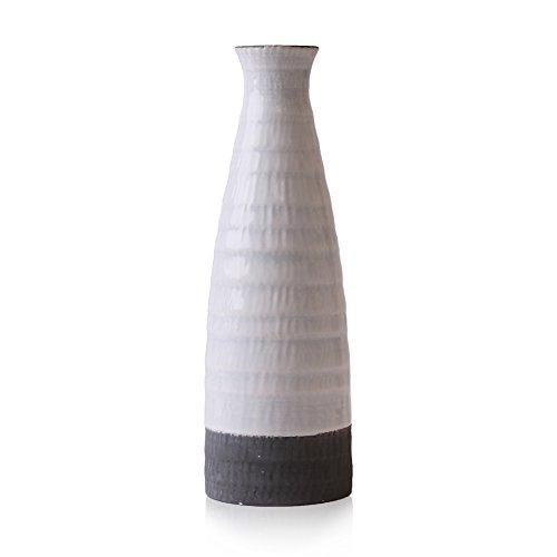 Hannah's cottage Weiß Vase Keramik Vase Kleine Vase Blumenvase Keramikvasenset Moderne Deko Tischvase Blumen Vase Wohnzimmer Deko Haus Dekoration Höhe 21,cm Ø 7cm(Weiß & Grau)
