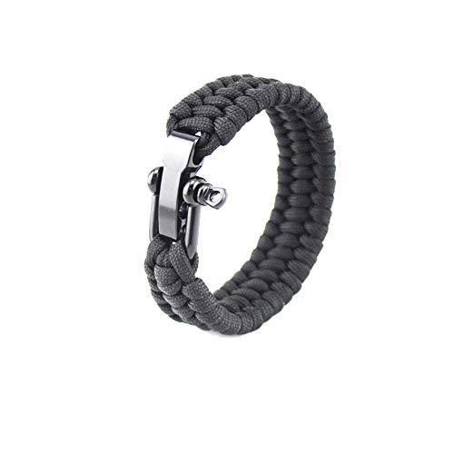 KEYkey Überlebens-Armband mit Verstellbarer Edelstahl Schäkel Paracord Armband Tactical-Seil-Schnur ultimative Armbänder für Camping Jagd Wandern Schwarz 8inch 1PC