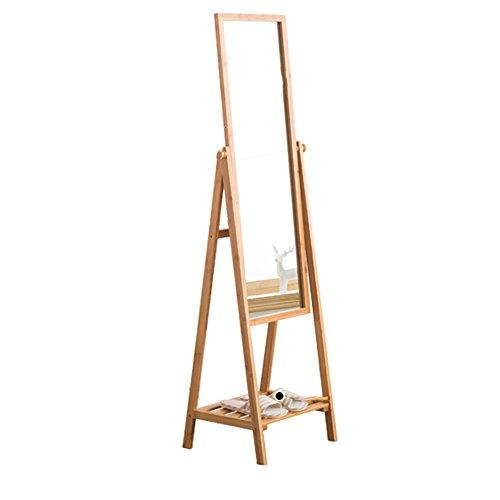 JU FU Porte-manteau Porte-manteau en bois, miroir pleine longueur Miroirs de rangement en bambou pour arts @@