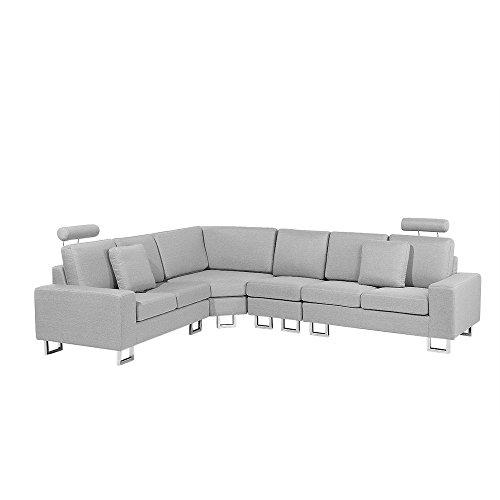 Divano angolare moderno in tessuto grigio chiaro stockholm