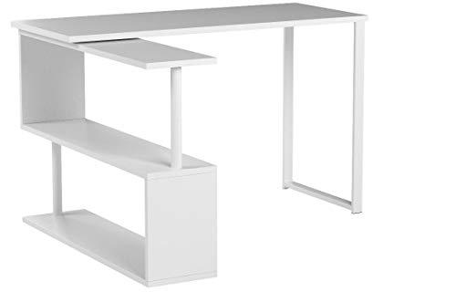 WOLTU TS65ws Table de Bureau en MDF et Acier,Table de Travail PC Table d'ordinateur avec étagères 120x100x74cm,Blanc