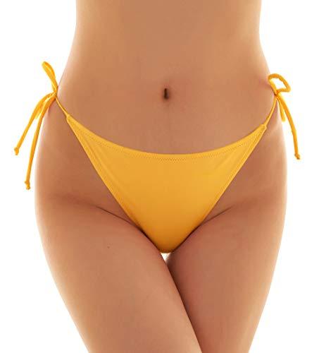 SHEKINI Damen Tie Side Bikinihosen Brazilian String Rüsche Bikini Tanga Bikinihose Raffung Hinten Thong (Large, Gelb)