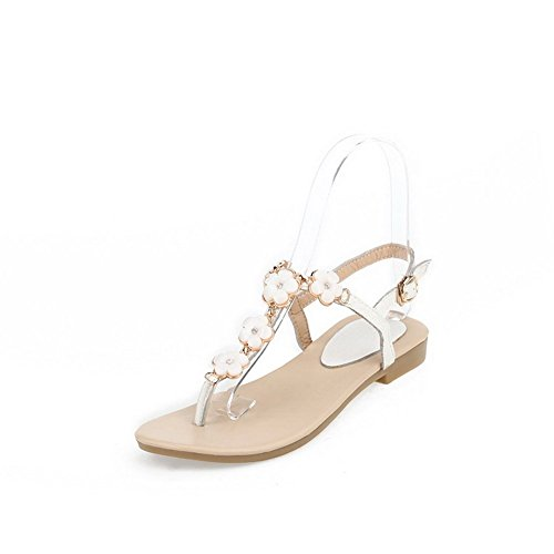 balamasa Mesdames floriation split-toe Vache en cuir Sandales Blanc