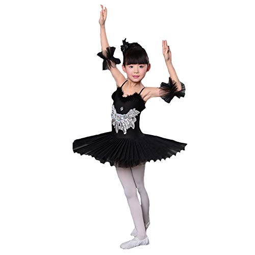 YONGMEI Tanzkostüm - Ballett Rock Swan Lake Kinder Professional Rock Mädchen Pailletten Perlen Tutu (Farbe : SCHWARZ, größe : 130cm)