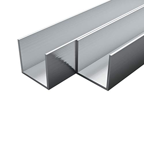 Festnight- 4x2meter U-Form für LED-Streifen, Aluminium-Kanäle U-Profil 2 m 30x30x2 mm