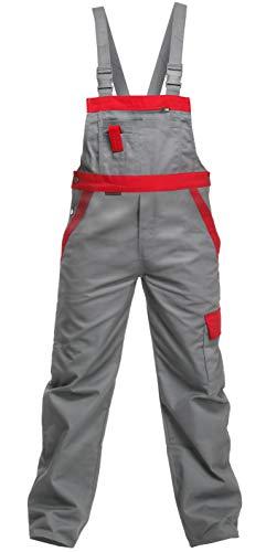 Charlie Barato L13704/60 Arbeitshose'Sweat Life Latzhose' für Handwerker, Grau/rot, 60