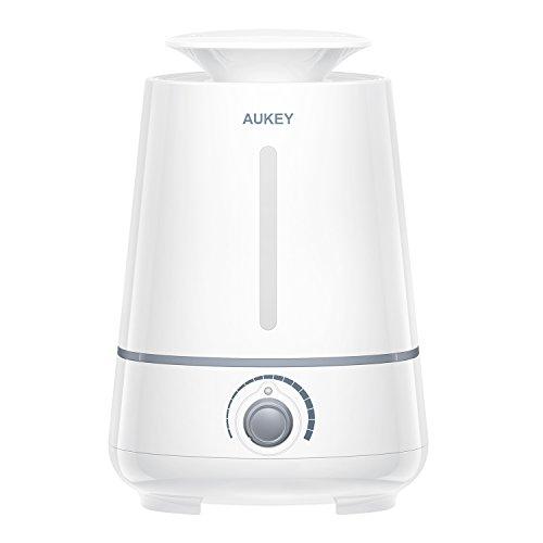 Aukey - Humidificador de ultrasonidos de 3,5 Lt - Gran capacidad con salidas de pulverización - Rotación de 360 grados - Perilla de control y apagado automático para el hogar, la oficina, etc