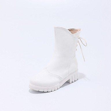 Rtry Chaussures Pour Femmes Similicuir Hiver Printemps Mode Bottes Bottes Talon Chunky Round Toe Booties / Bottines À Lacets Pour Casual Office & Amp; Carrière Us7.5 / Eu38 / Uk5.5 / Cn38