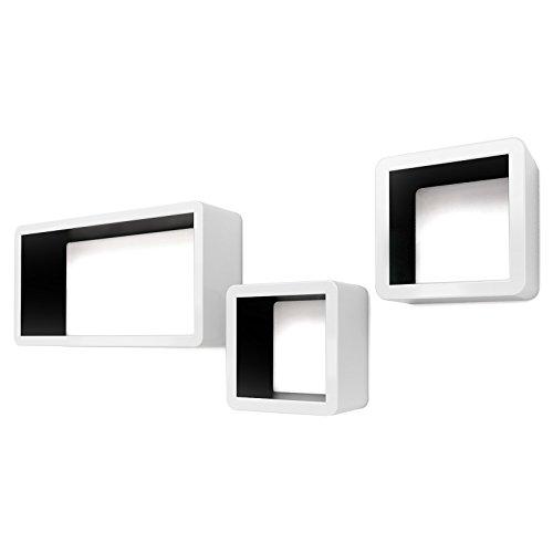 Songmics Lot de 3 Étagères murales Lounge Cube pour CD livres blanc-noir LWS92B