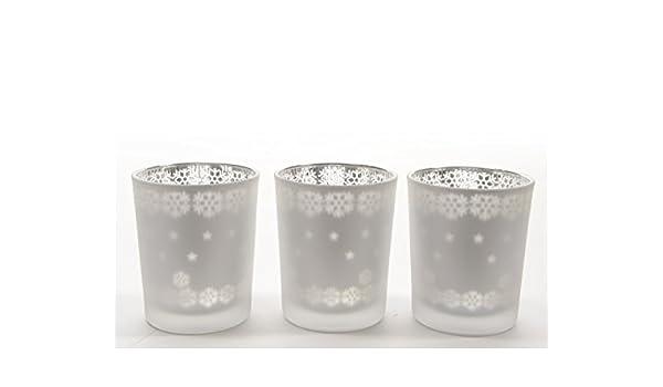 Windlicht Teelicht Laserdesign Schneeflocke Stern Teelichthalter weiß 3 er Set