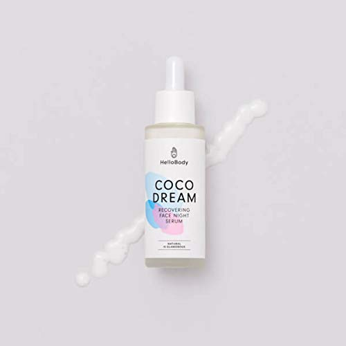 HelloBody Coco Dream Recovering Face Night Serum (30 ml) - Veganes, erholendes Serum - Hyaluron Serum mit Repair Complex - Hyaluronsäure Gesichtsserum - Kokos