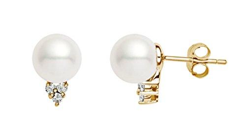 14K Gelb Gold AAA Qualität Japanische Akoya Zuchtperlen weiß Perle Diamant Ohrstecker