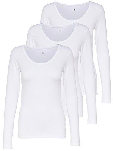 ONLY 3er Pack Damen Langarmshirt Schwarz und Weiß Langarm Basic Longsleeve Sommer Aus 95% Baumwolle XS S M L XL Gratis Wäschenetz von B46 (3er Pack Weiß, M)