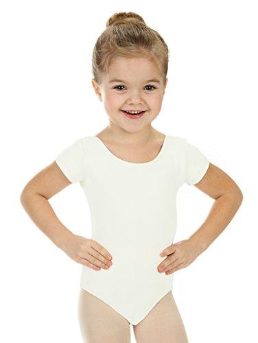 Basic Weiße Kostüm Mädchen - elowel Kinder Mädchen Basic Kurzarm Ballett Trikot Tanztrikot Gymnastikanzug Turnanzug Trikot (Größe 6-8 Jahre) Eierschale (Cremefarben)