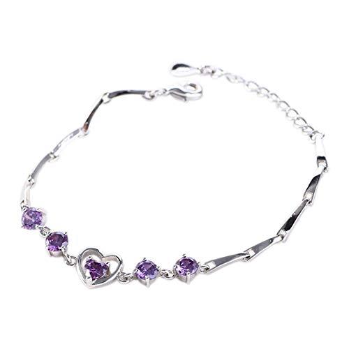 Milnut Femme Bracelet coeur en cristal de zircon Bijoux Fashion Cadeau size 16+3,5CM (Pourpre)