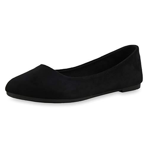 SCARPE VITA Damen Klassische Ballerinas Slip On Schuhe Basic Flats Freizeitschuhe Slipper 182865 Schwarz Schwarz 38 -