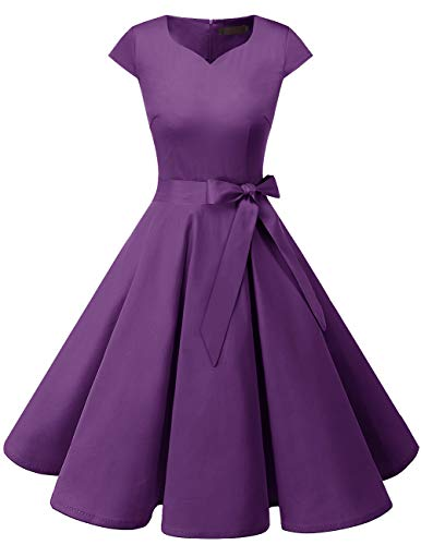 Dresstells Damen 50er Vintage Retro Cap Sleeves Rockabilly Kleider Hepburn Stil Cocktailkleider Purple XS