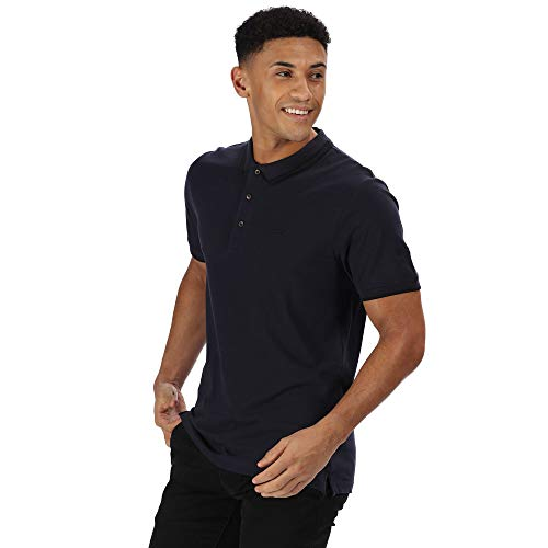 2 Button-up-shirt (Regatta Herren Talcott II Coolweave Cotton Pique 3-Button Up Neck Polo Shirt T Hemden/Westen, Marineblau/Schwarz, XXL)