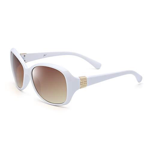 JM Retro Klassisch Oversized Sonnenbrille Damen UV400 Schutz Schatten Brillen(Weiß/Gradient Braun)