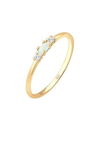 Elli Ring Geo Vintage Zirkonia Marquise Opal 925 Silber - Gold Opal Und