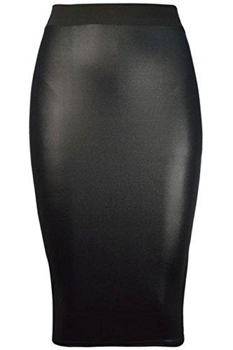Damen Wetlook PVC Bodycon Peplum Rüschen Tunika Kleid Top Strickjacke Leggings Cami Boobtube PU Leder Look EUR Größe 36-54 (3XL (EUR 52-54), Wetlook Midi Rock)