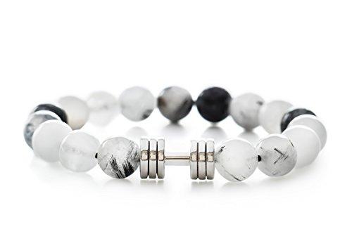 Rutil Quarz Hantel Armband rhodiniert Fitness Gym Schmuck Perlen Armband