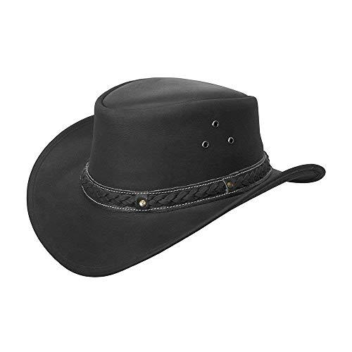 ntage Schwarz und Braun Wide Brim Cowboy Aussie Style Western Bush Hat (Large, schwarz) ()