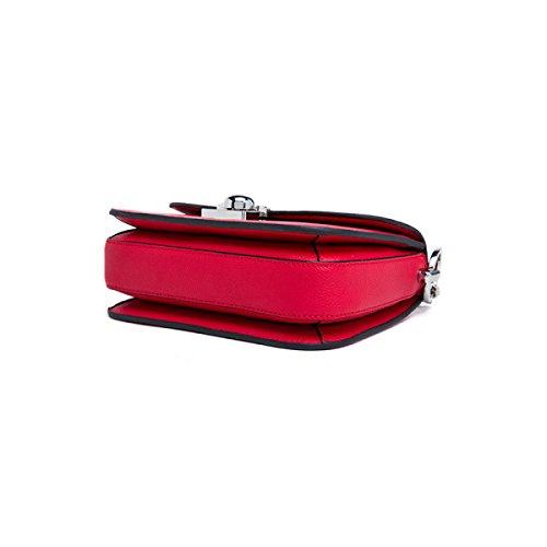 Donna Pelle Hardware Blocco Di Sicurezza Singola Spalla Crossbody La Catena Di Borsa. Red1